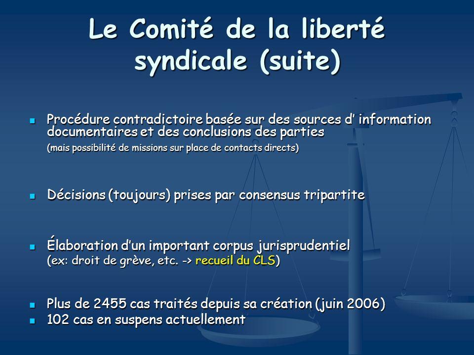 Le Comité de la liberté syndicale (suite) Procédure contradictoire basée sur des sources d information documentaires et des conclusions des parties Pr