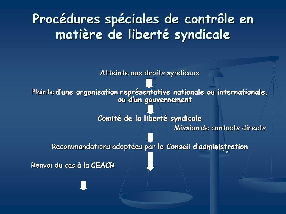 Procédures spéciales de contrôle en matière de liberté syndicale Atteinte aux droits syndicaux Plainte dune organisation représentative nationale ou i