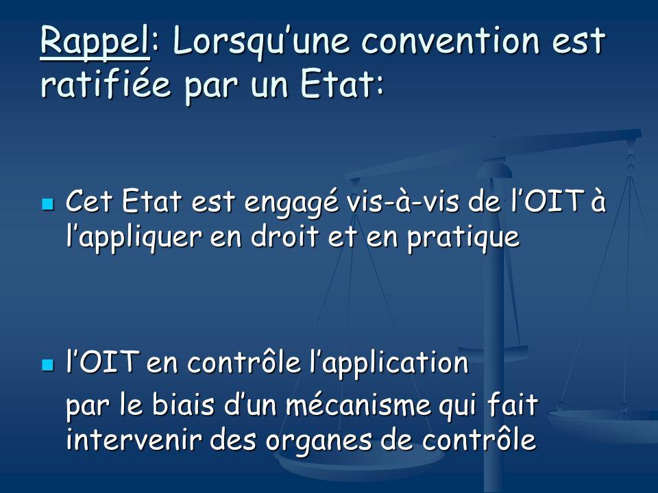Mécanismes de contrôle de lOIT Mécanisme de contrôle régulier Fondé sur lobligation de faire régulièrement rapport sur lapplication des conventions ratifiées Procédures spéciales de contrôle suppose un recours spécifique contre un Etat membre