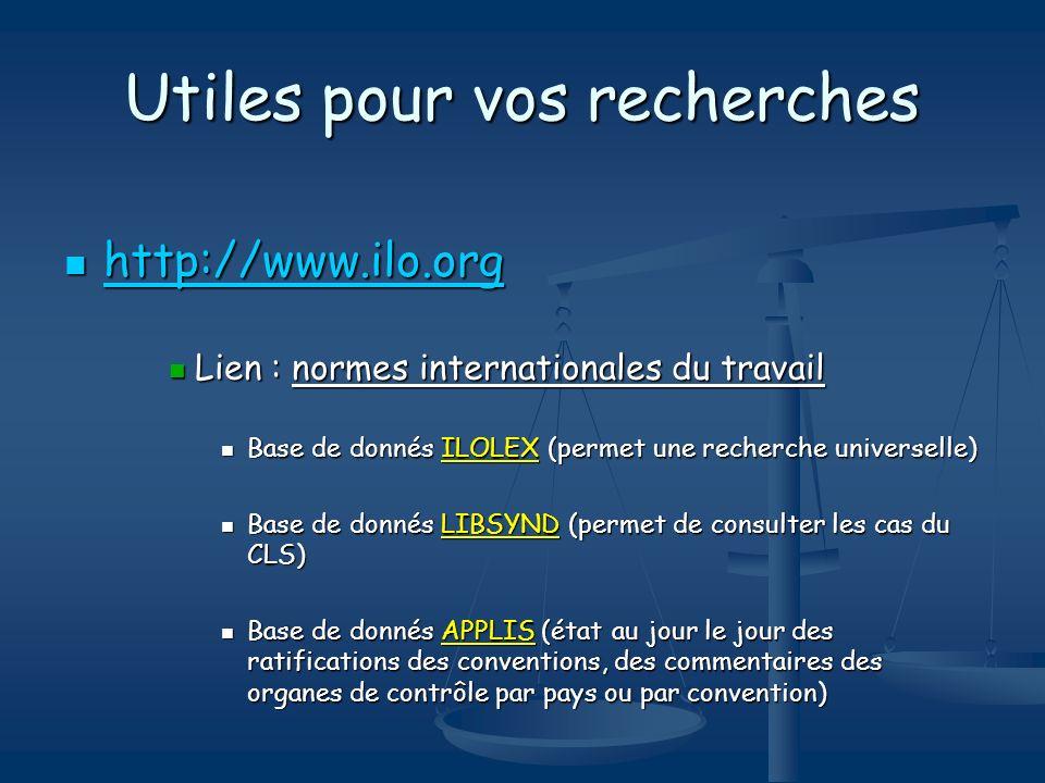 Utiles pour vos recherches http://www.ilo.org http://www.ilo.org http://www.ilo.org Lien : normes internationales du travail Lien : normes internation