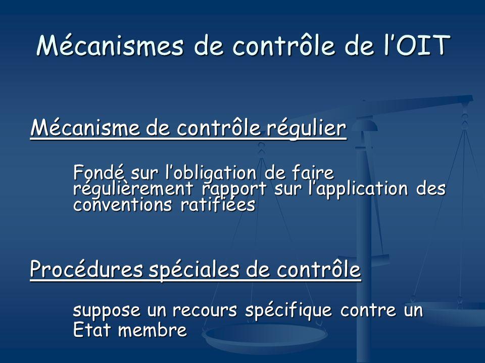 Mécanismes de contrôle de lOIT Mécanisme de contrôle régulier Fondé sur lobligation de faire régulièrement rapport sur lapplication des conventions ra