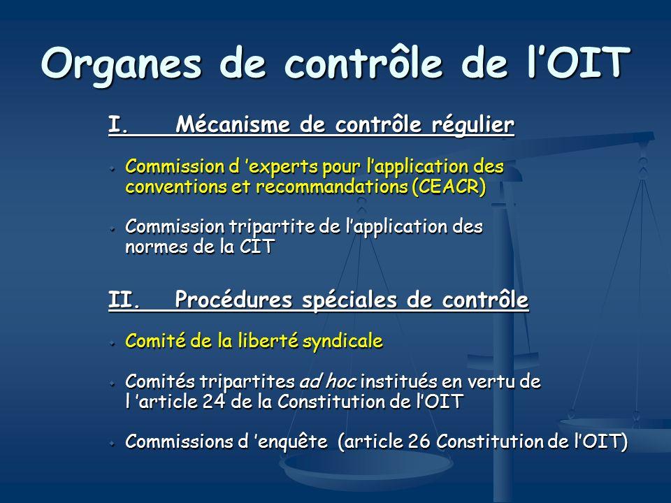 Mécanisme de contrôle régulier de lOIT Obligation de faire rapport périodiquement sur la mise en œuvre des conventions ratifiées à la Commission dexperts sur lapplication des conventions et recommandations (CEACR) Obligation de faire rapport périodiquement sur la mise en œuvre des conventions ratifiées à la Commission dexperts sur lapplication des conventions et recommandations (CEACR) (Art 22 de la Constitution de lOIT) Obligation de faire rapport sur la mise en œuvre de conventions non ratifiées et de recommandations à la CEACR Obligation de faire rapport sur la mise en œuvre de conventions non ratifiées et de recommandations à la CEACR (Art 19 de la Constitution de lOIT)