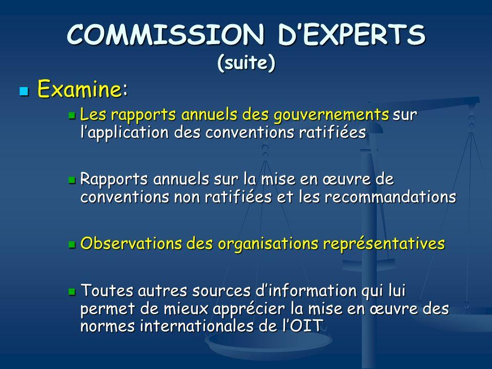COMMISSION DEXPERTS (suite) Examine: Examine: Les rapports annuels des gouvernements sur lapplication des conventions ratifiées Les rapports annuels d