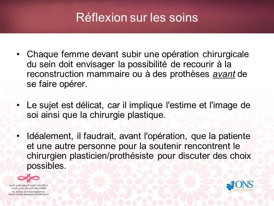 Réflexion sur les soins Chaque femme devant subir une opération chirurgicale du sein doit envisager la possibilité de recourir à la reconstruction mam