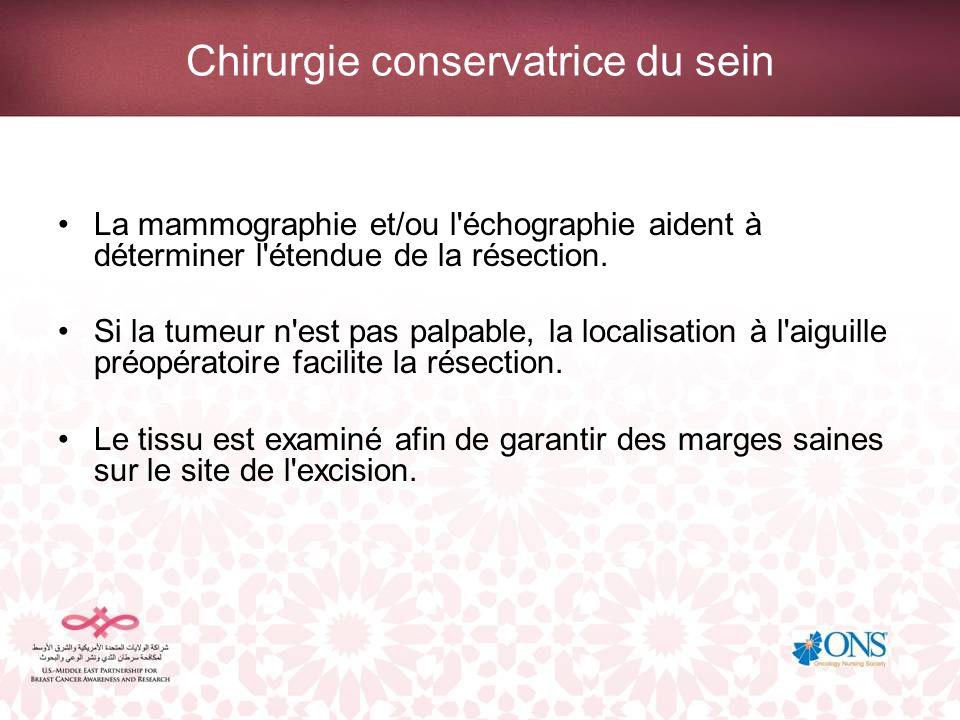 Chirurgie conservatrice du sein La mammographie et/ou l'échographie aident à déterminer l'étendue de la résection. Si la tumeur n'est pas palpable, la
