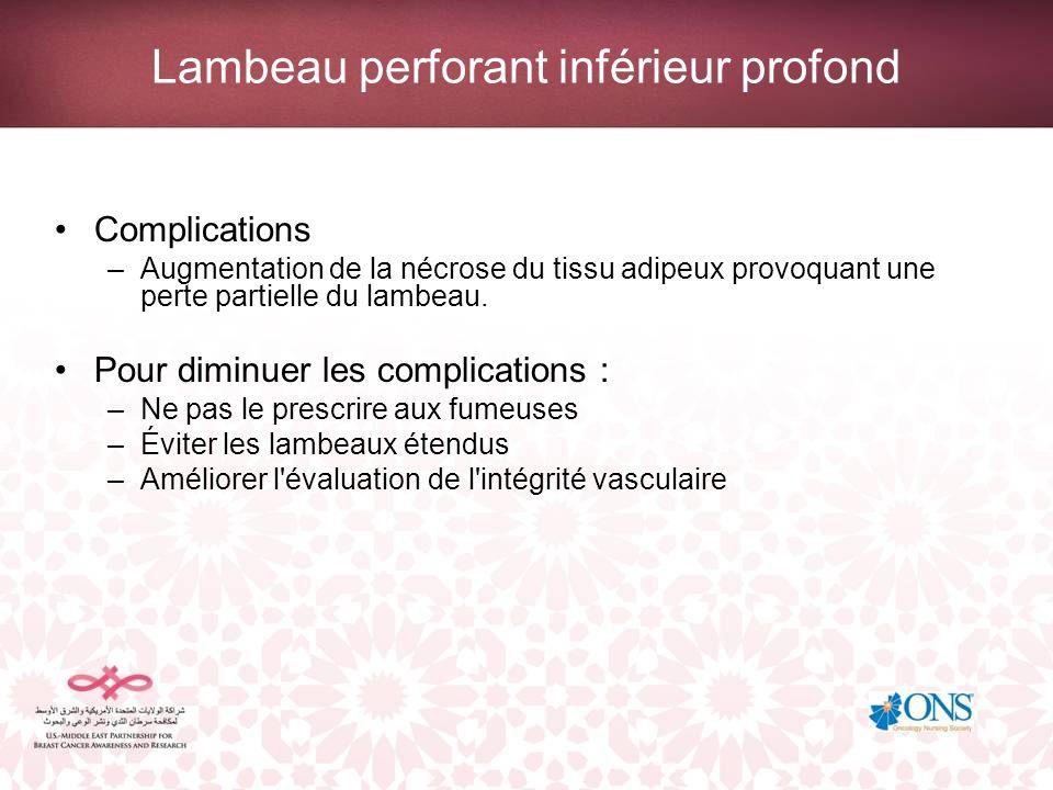 Lambeau perforant inférieur profond Complications –Augmentation de la nécrose du tissu adipeux provoquant une perte partielle du lambeau. Pour diminue