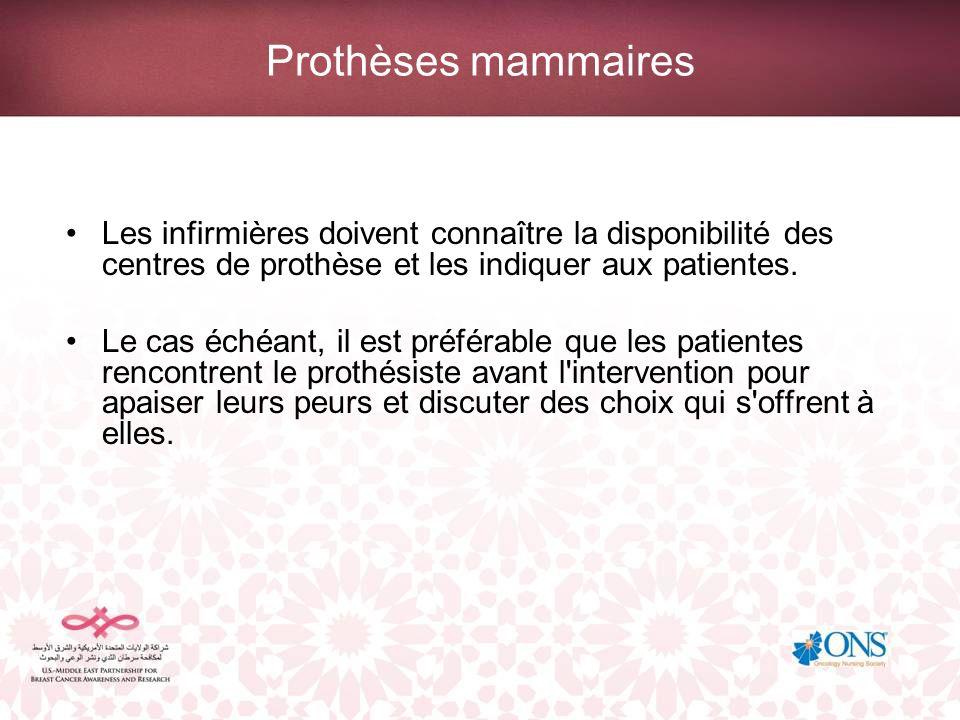 Prothèses mammaires Les infirmières doivent connaître la disponibilité des centres de prothèse et les indiquer aux patientes. Le cas échéant, il est p