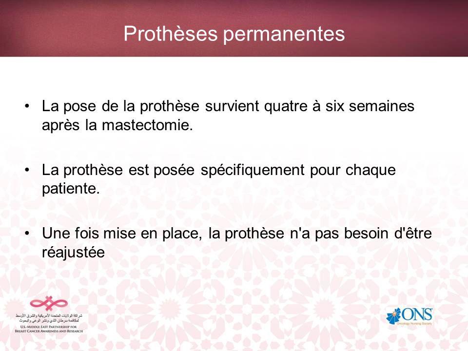 Prothèses permanentes La pose de la prothèse survient quatre à six semaines après la mastectomie. La prothèse est posée spécifiquement pour chaque pat