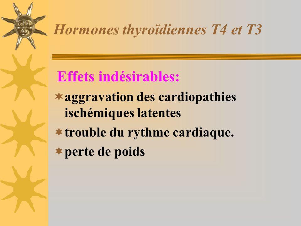 Hormones thyroïdiennes T4 et T3 Effets indésirables: aggravation des cardiopathies ischémiques latentes trouble du rythme cardiaque. perte de poids