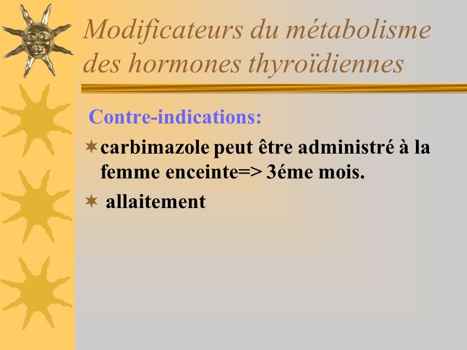 Modificateurs du métabolisme des hormones thyroïdiennes Contre-indications: carbimazole peut être administré à la femme enceinte=> 3éme mois. allaitem