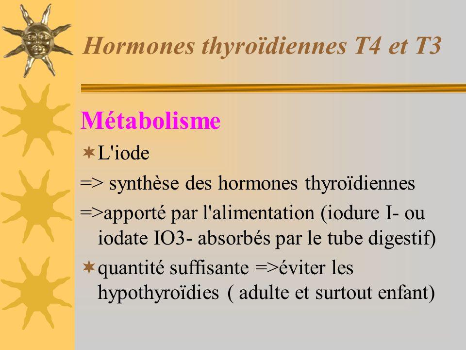 Hormones thyroïdiennes T4 et T3 Métabolisme L'iode => synthèse des hormones thyroïdiennes =>apporté par l'alimentation (iodure I- ou iodate IO3- absor