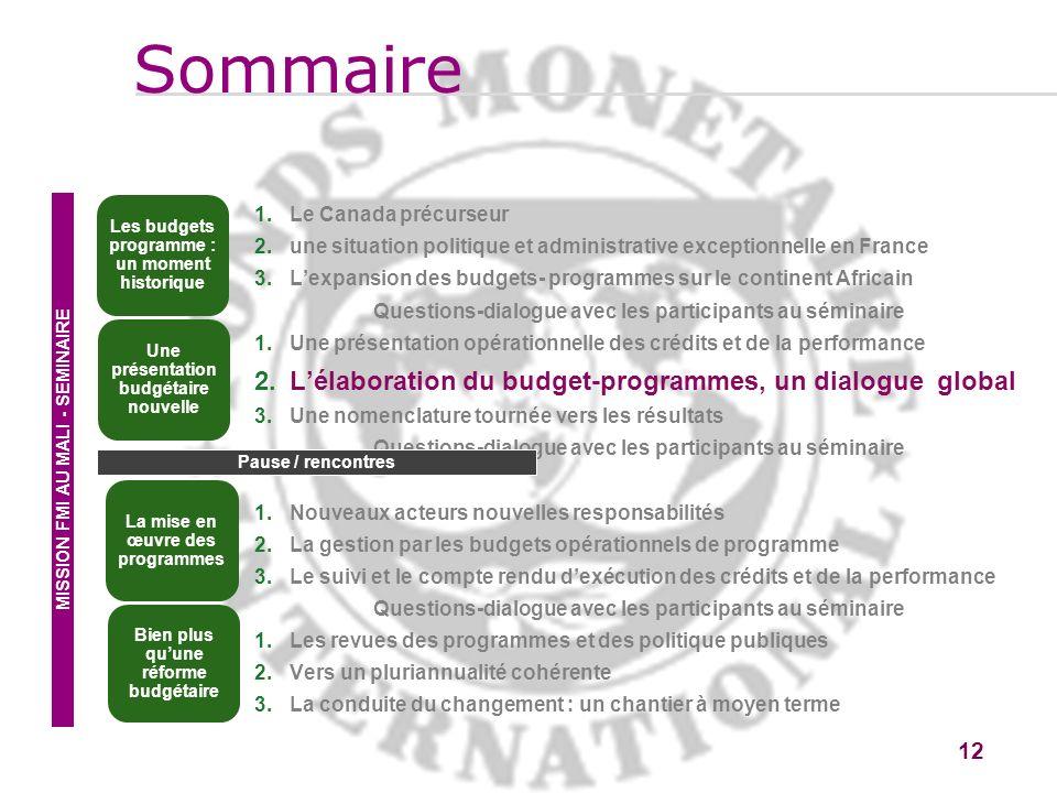 12 1.Le Canada précurseur 2.une situation politique et administrative exceptionnelle en France 3.Lexpansion des budgets- programmes sur le continent A