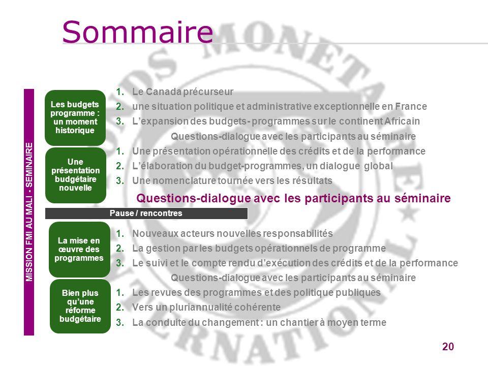 20 1.Le Canada précurseur 2.une situation politique et administrative exceptionnelle en France 3.Lexpansion des budgets- programmes sur le continent A