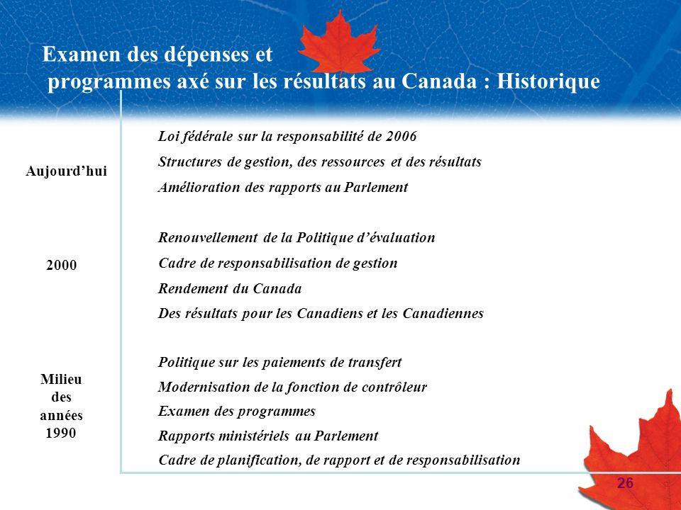 26 Examen des dépenses et programmes axé sur les résultats au Canada : Historique Loi fédérale sur la responsabilité de 2006 Structures de gestion, de