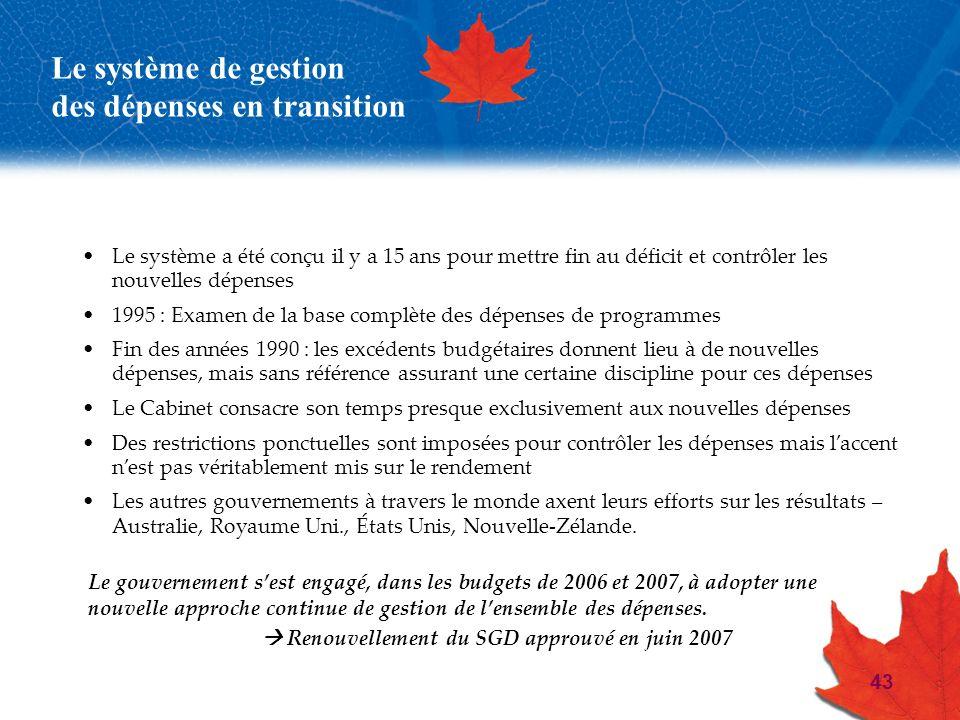 43 Le système de gestion des dépenses en transition Le système a été conçu il y a 15 ans pour mettre fin au déficit et contrôler les nouvelles dépense