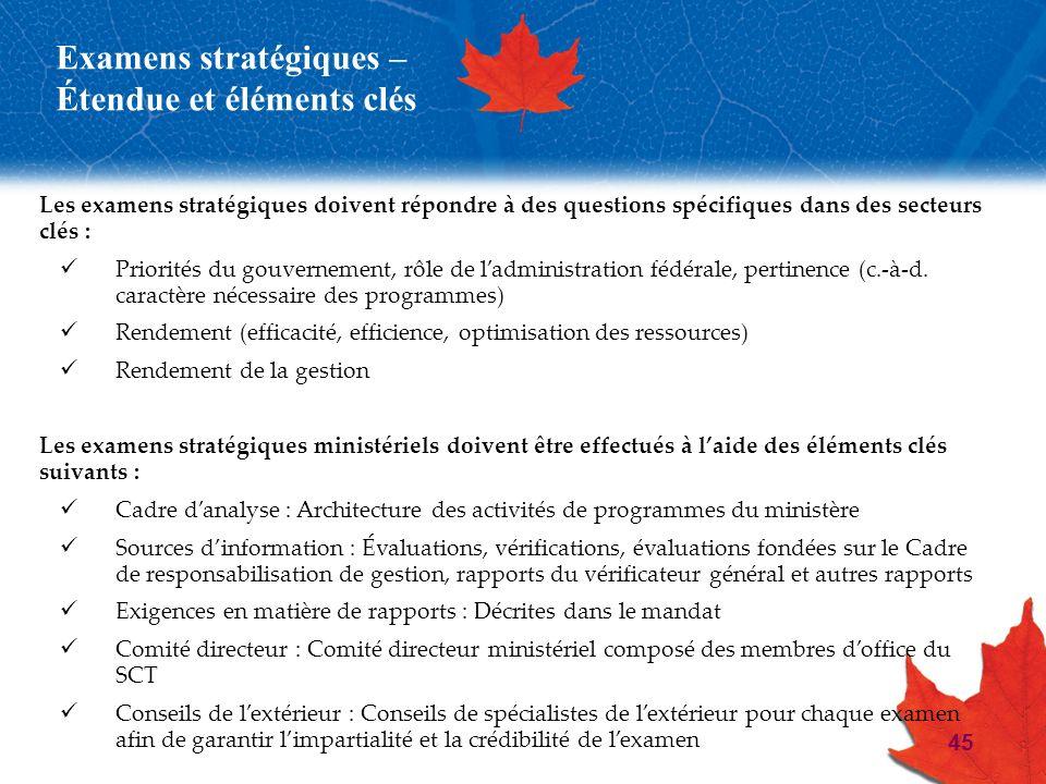 45 Examens stratégiques – Étendue et éléments clés Les examens stratégiques doivent répondre à des questions spécifiques dans des secteurs clés : Prio