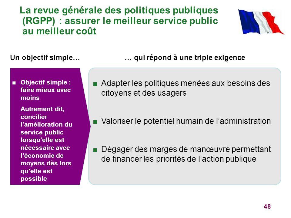 48 La revue générale des politiques publiques (RGPP) : assurer le meilleur service public au meilleur coût Un objectif simple… Objectif simple : faire