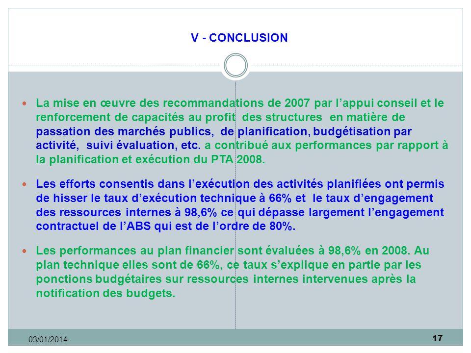 17 03/01/2014 V - CONCLUSION La mise en œuvre des recommandations de 2007 par lappui conseil et le renforcement de capacités au profit des structures en matière de passation des marchés publics, de planification, budgétisation par activité, suivi évaluation, etc.