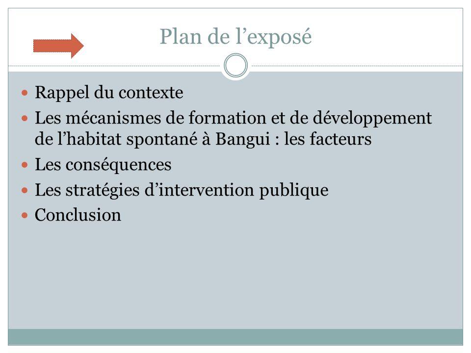 Plan de lexposé Rappel du contexte Les mécanismes de formation et de développement de lhabitat spontané à Bangui : les facteurs Les conséquences Les stratégies dintervention publique Conclusion