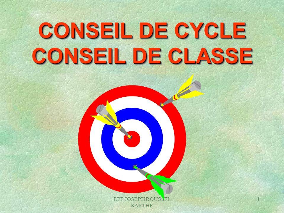 LPP JOSEPH ROUSSEL SARTHE 1 CONSEIL DE CYCLE CONSEIL DE CLASSE