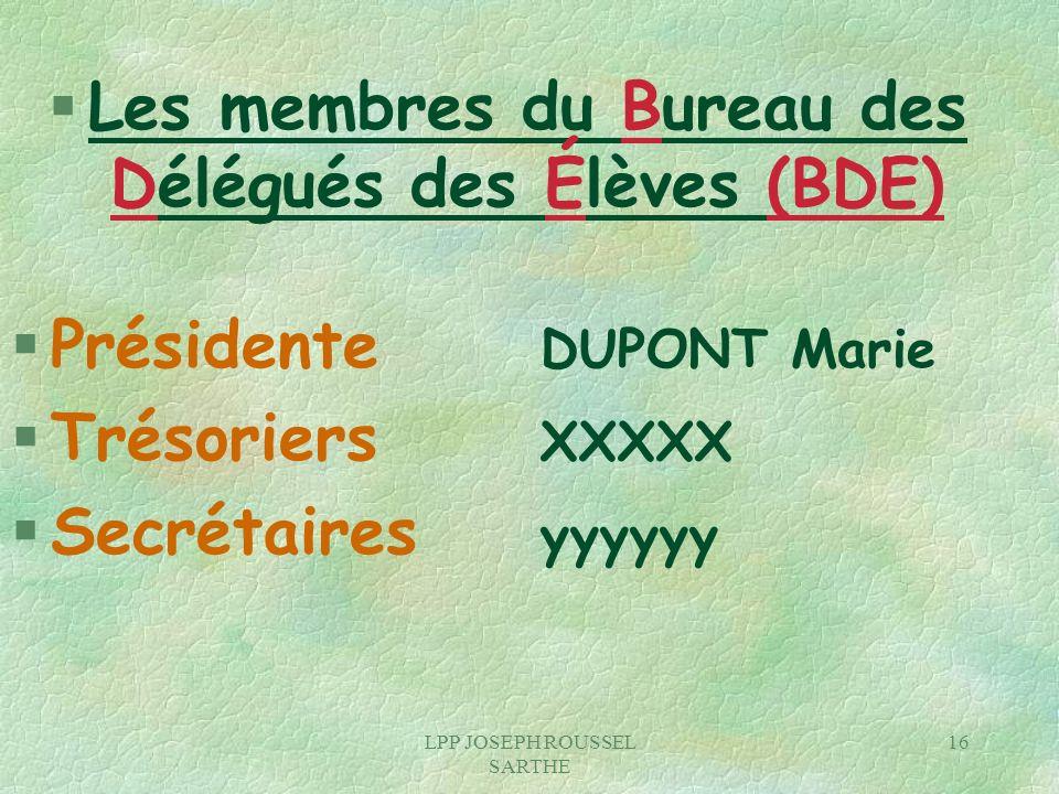 LPP JOSEPH ROUSSEL SARTHE 16 § Les membres du Bureau des Délégués des Élèves (BDE) § Présidente DUPONT Marie § Trésoriers XXXXX § Secrétaires yyyyyy