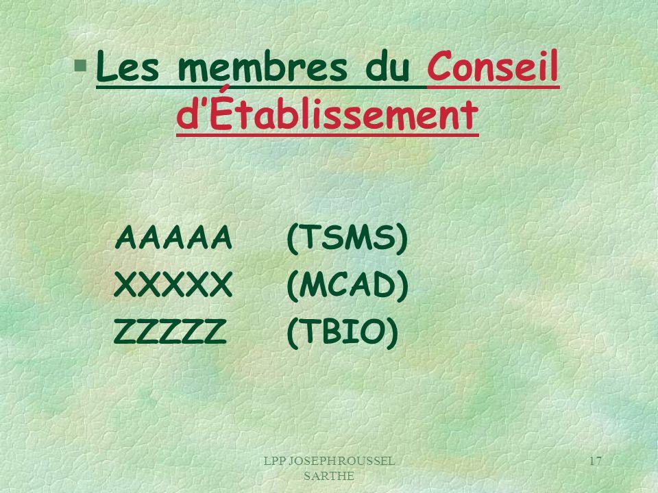 LPP JOSEPH ROUSSEL SARTHE 17 § Les membres du Conseil dÉtablissement AAAAA (TSMS) XXXXX(MCAD) ZZZZZ(TBIO)