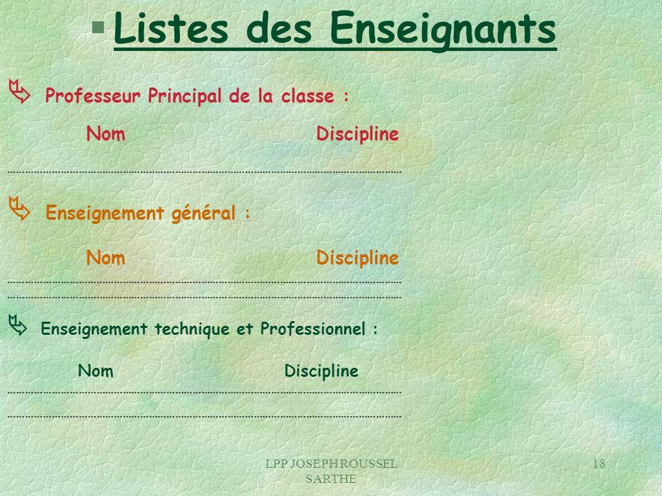 LPP JOSEPH ROUSSEL SARTHE 18 § Listes des Enseignants Professeur Principal de la classe : Nom Discipline ………………………………………………………………………………………………………………………