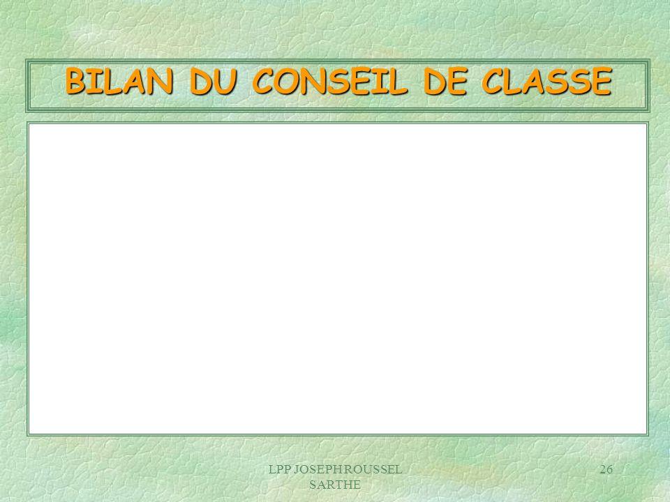 LPP JOSEPH ROUSSEL SARTHE 26 BILAN DU CONSEIL DE CLASSE