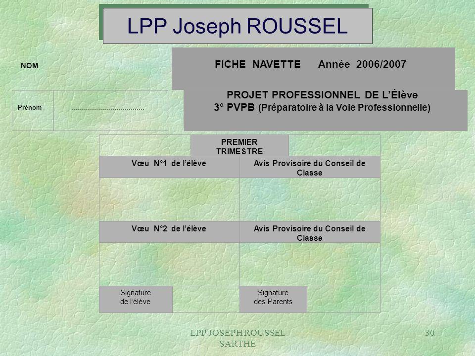 LPP JOSEPH ROUSSEL SARTHE 30 LPP Joseph ROUSSEL NOM..................................... FICHE NAVETTE Année 2006/2007 Prénom.........................