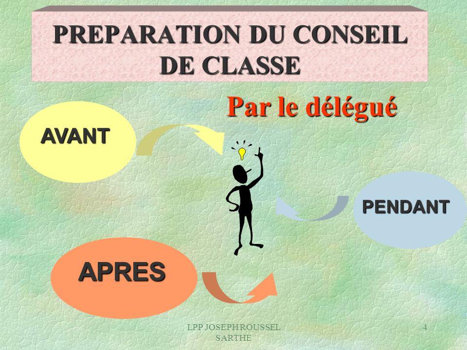 LPP JOSEPH ROUSSEL SARTHE 4 AVANT APRES PENDANT PREPARATION DU CONSEIL DE CLASSE Par le délégué