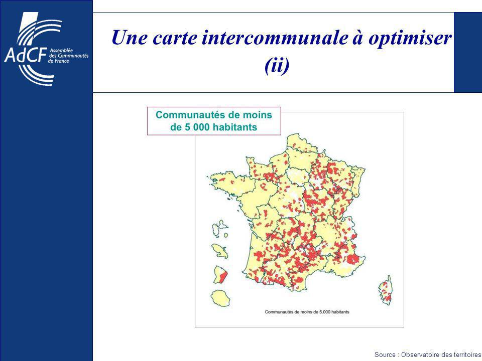 Une carte intercommunale à optimiser (ii) Source : Observatoire des territoires