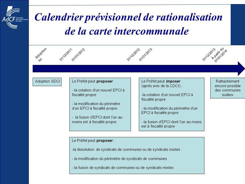 Calendrier prévisionnel de rationalisation de la carte intercommunale Adoption SDCILe Préfet peut proposer : - la création dun nouvel EPCI à fiscalité