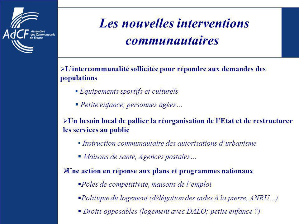 Les nouvelles interventions communautaires Lintercommunalité sollicitée pour répondre aux demandes des populations Equipements sportifs et culturels P