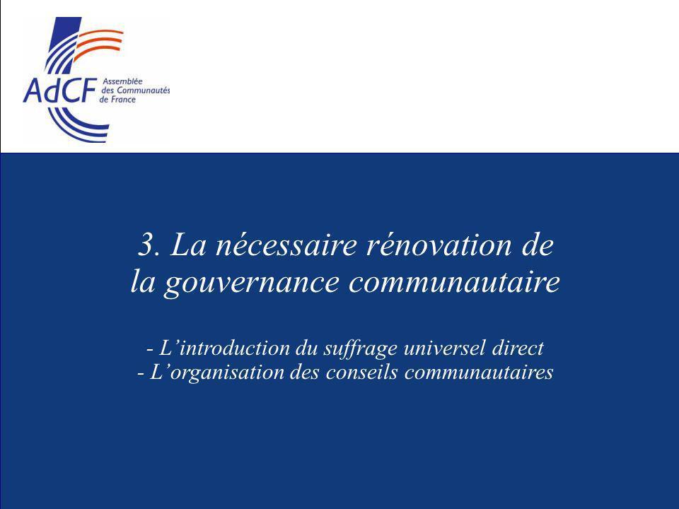 3. La nécessaire rénovation de la gouvernance communautaire - Lintroduction du suffrage universel direct - Lorganisation des conseils communautaires