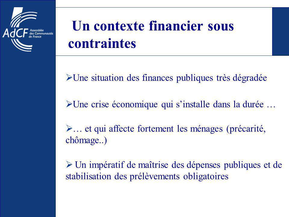 Un contexte financier sous contraintes Une situation des finances publiques très dégradée Une crise économique qui sinstalle dans la durée … … et qui