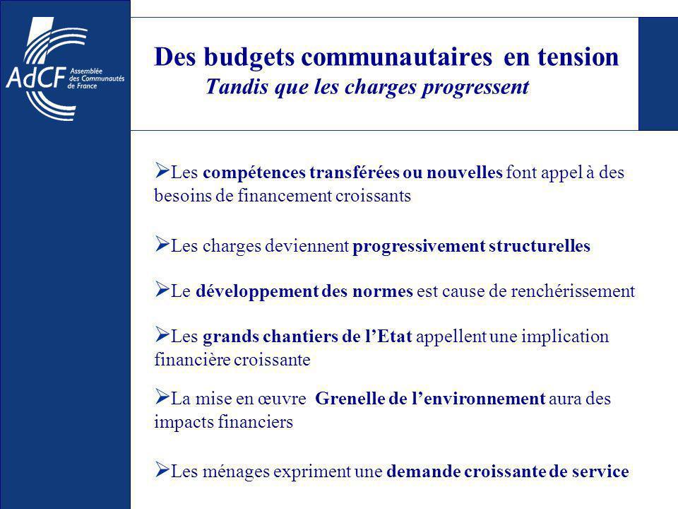 Des budgets communautaires en tension Tandis que les charges progressent Les compétences transférées ou nouvelles font appel à des besoins de financem