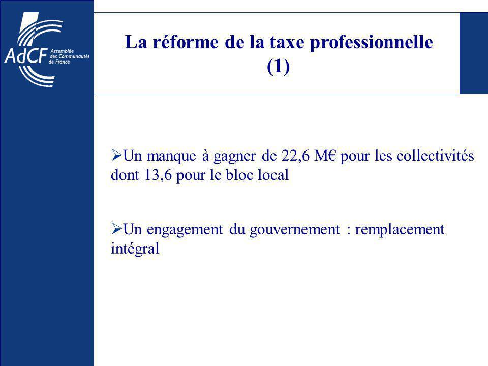 La réforme de la taxe professionnelle (1) Un manque à gagner de 22,6 M pour les collectivités dont 13,6 pour le bloc local Un engagement du gouvernement : remplacement intégral