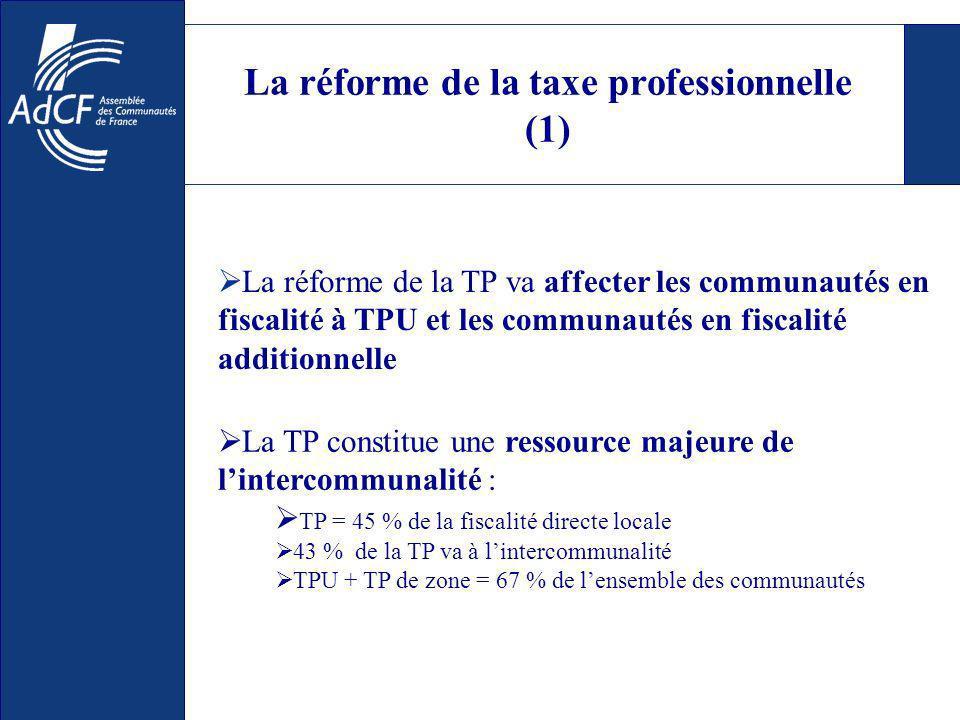 La réforme de la taxe professionnelle (1) La réforme de la TP va affecter les communautés en fiscalité à TPU et les communautés en fiscalité additionnelle La TP constitue une ressource majeure de lintercommunalité : TP = 45 % de la fiscalité directe locale 43 % de la TP va à lintercommunalité TPU + TP de zone = 67 % de lensemble des communautés