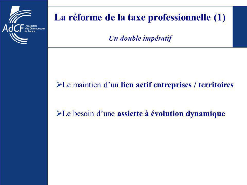 La réforme de la taxe professionnelle (1) Un double impératif Le maintien dun lien actif entreprises / territoires Le besoin dune assiette à évolution