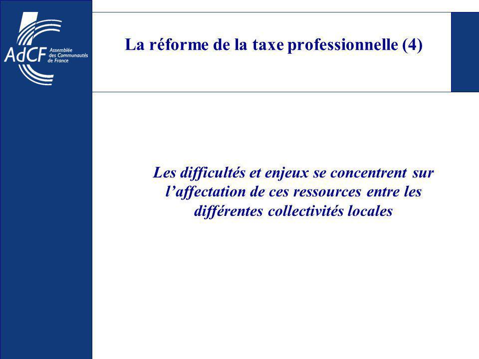 La réforme de la taxe professionnelle (4) Les difficultés et enjeux se concentrent sur laffectation de ces ressources entre les différentes collectivités locales