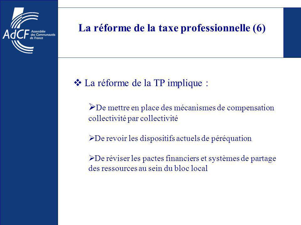 La réforme de la taxe professionnelle (6) De mettre en place des mécanismes de compensation collectivité par collectivité De revoir les dispositifs actuels de péréquation De réviser les pactes financiers et systèmes de partage des ressources au sein du bloc local La réforme de la TP implique :