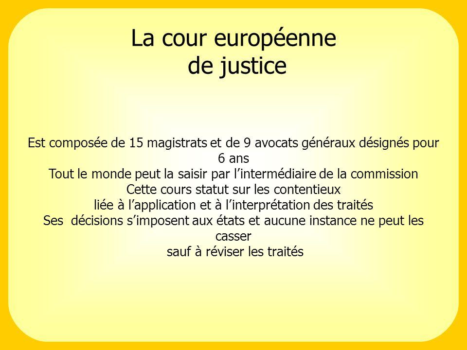 La cour européenne de justice Est composée de 15 magistrats et de 9 avocats généraux désignés pour 6 ans Tout le monde peut la saisir par lintermédiaire de la commission Cette cours statut sur les contentieux liée à lapplication et à linterprétation des traités Ses décisions simposent aux états et aucune instance ne peut les casser sauf à réviser les traités
