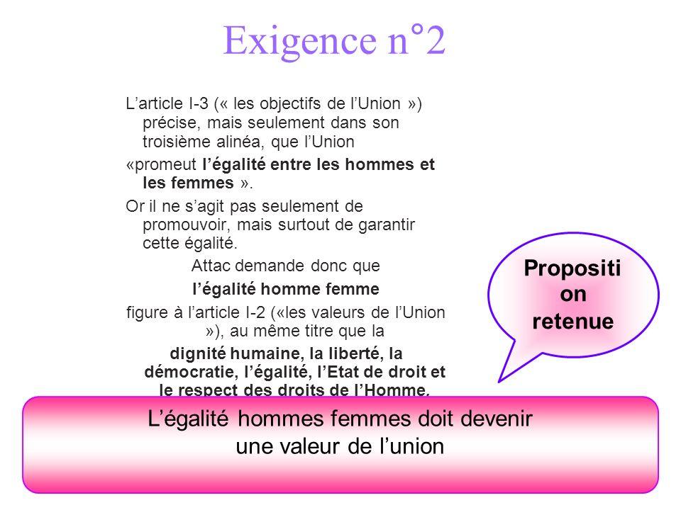 Exigence n°2 Larticle I-3 (« les objectifs de lUnion ») précise, mais seulement dans son troisième alinéa, que lUnion «promeut légalité entre les hommes et les femmes ».