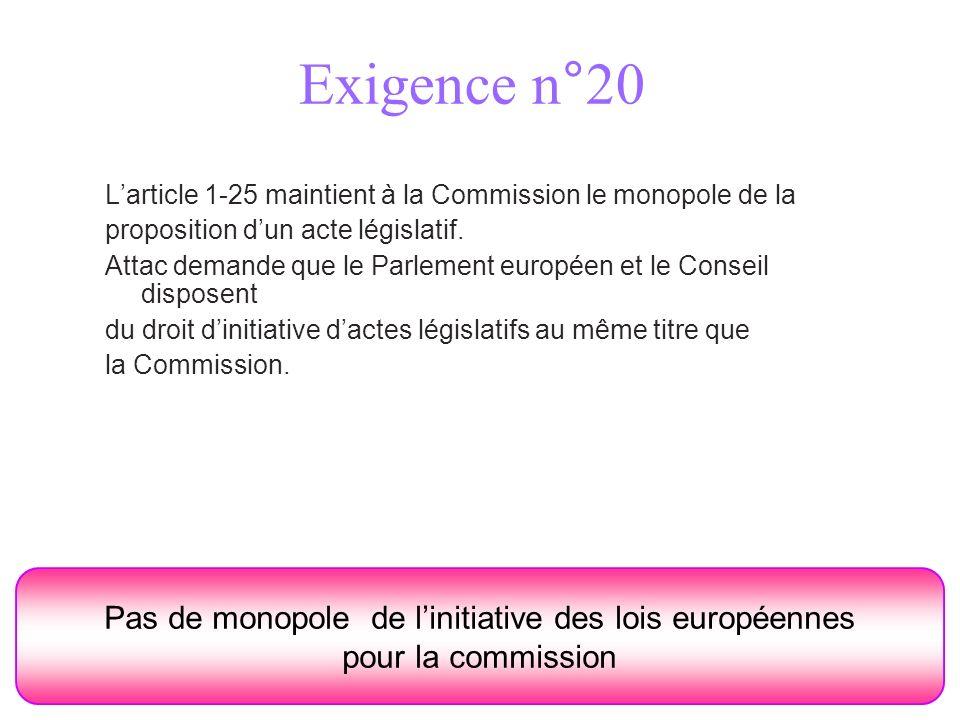 Exigence n°20 Pas de monopole de linitiative des lois européennes pour la commission Larticle 1-25 maintient à la Commission le monopole de la proposition dun acte législatif.