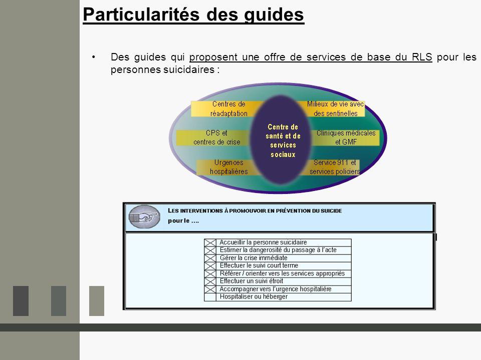 Particularités des guides Des guides qui proposent une offre de services de base du RLS pour les personnes suicidaires :
