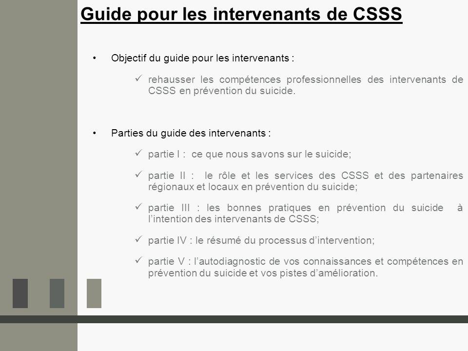 Objectif du guide pour les intervenants : rehausser les compétences professionnelles des intervenants de CSSS en prévention du suicide. Parties du gui