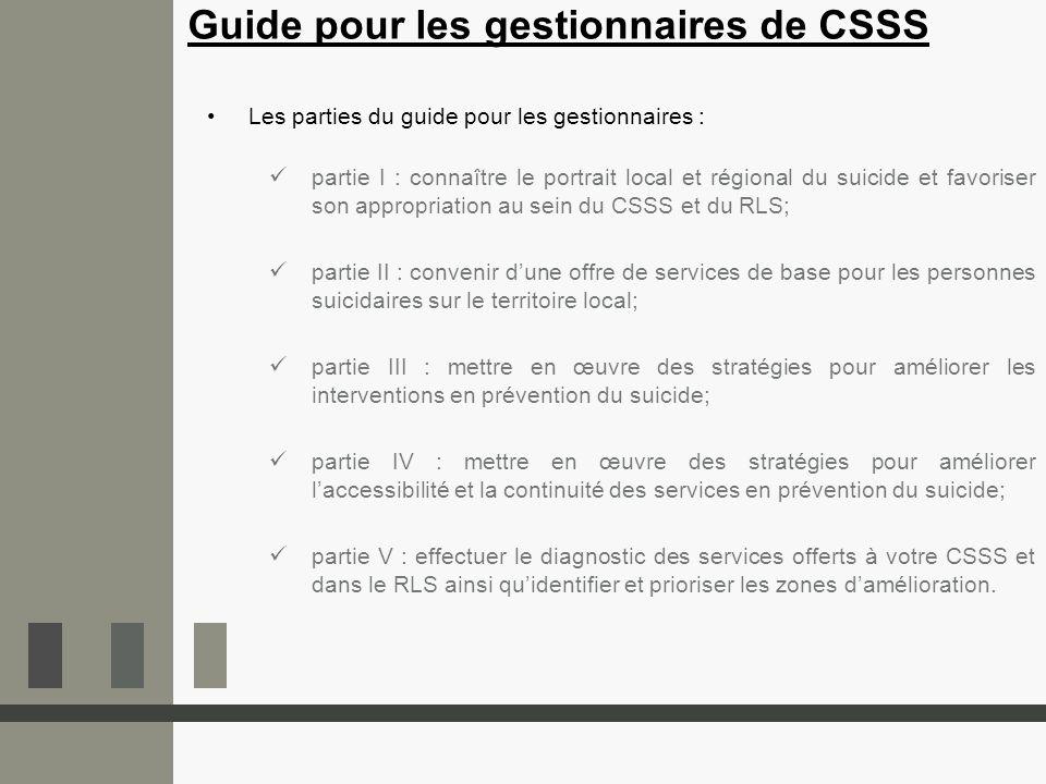 Les parties du guide pour les gestionnaires : partie I : connaître le portrait local et régional du suicide et favoriser son appropriation au sein du