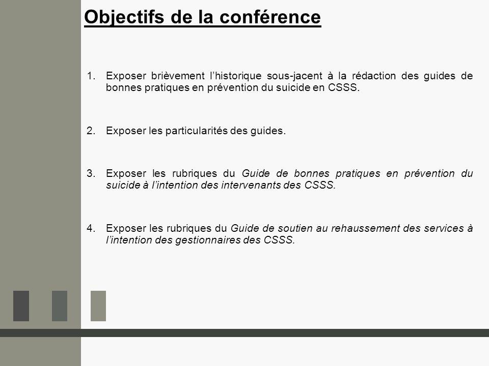 1.Exposer brièvement lhistorique sous-jacent à la rédaction des guides de bonnes pratiques en prévention du suicide en CSSS. 2.Exposer les particulari