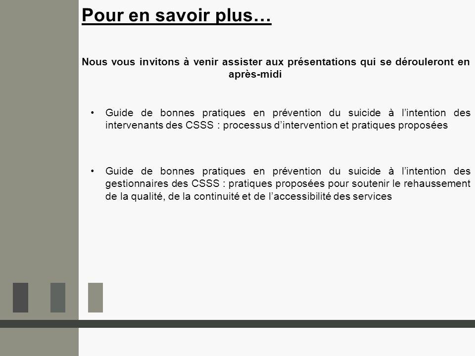Guide de bonnes pratiques en prévention du suicide à lintention des intervenants des CSSS : processus dintervention et pratiques proposées Guide de bo