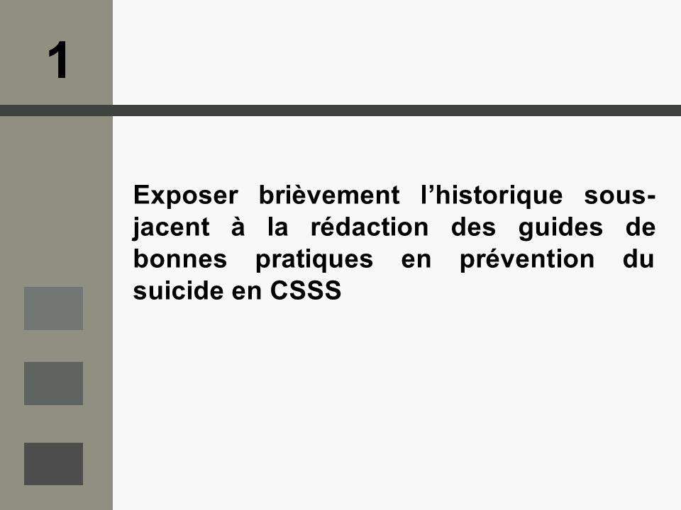 Exposer brièvement lhistorique sous- jacent à la rédaction des guides de bonnes pratiques en prévention du suicide en CSSS 1